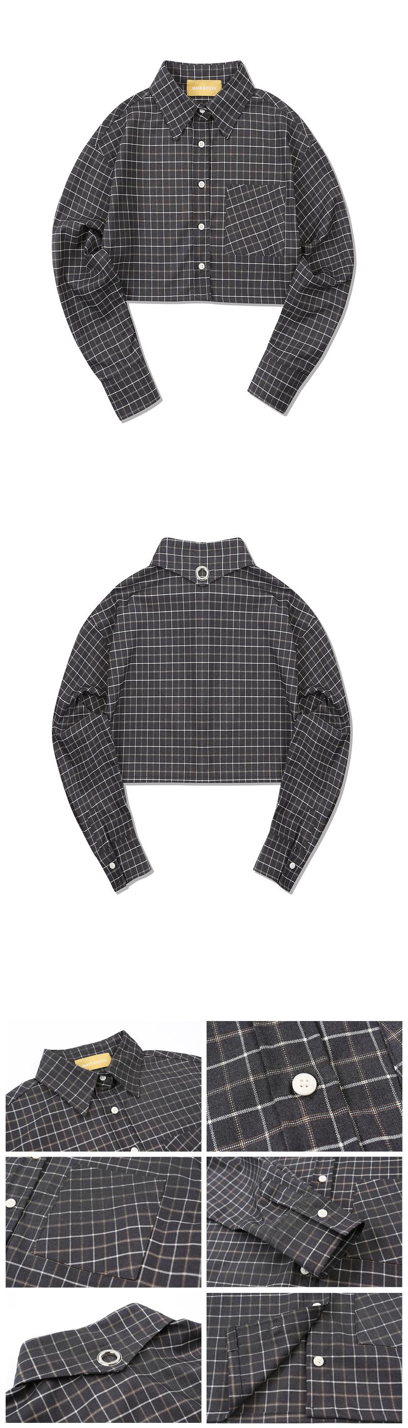 메인부스(MAINBOOTH) Andaz Crop Shirt(CHARCOAL)