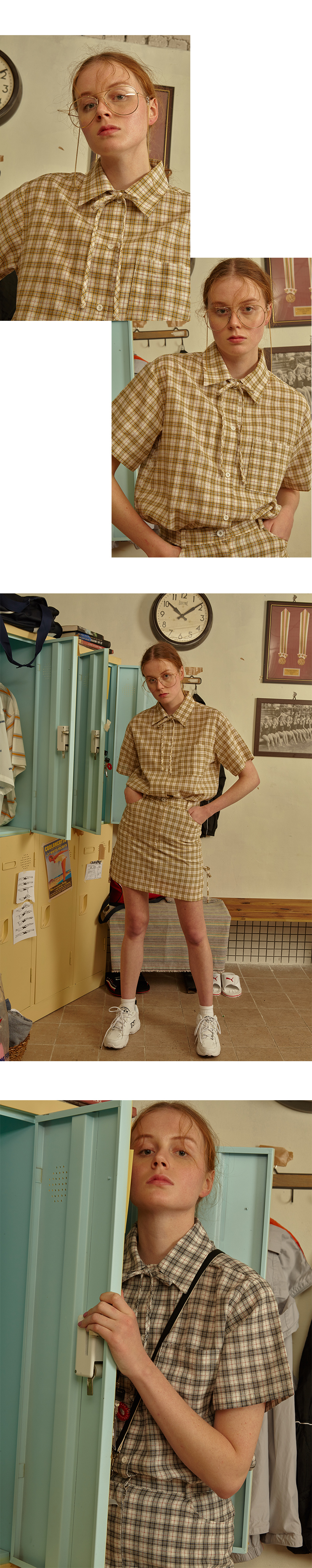 메인부스(MAINBOOTH) Ribbon Check Skirt(GRAY)