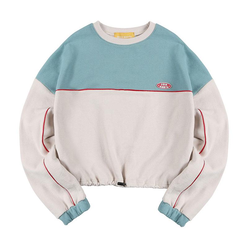 메인부스(MAINBOOTH) Color Block Crop Sweatshirt(LIGHT BEIGE)