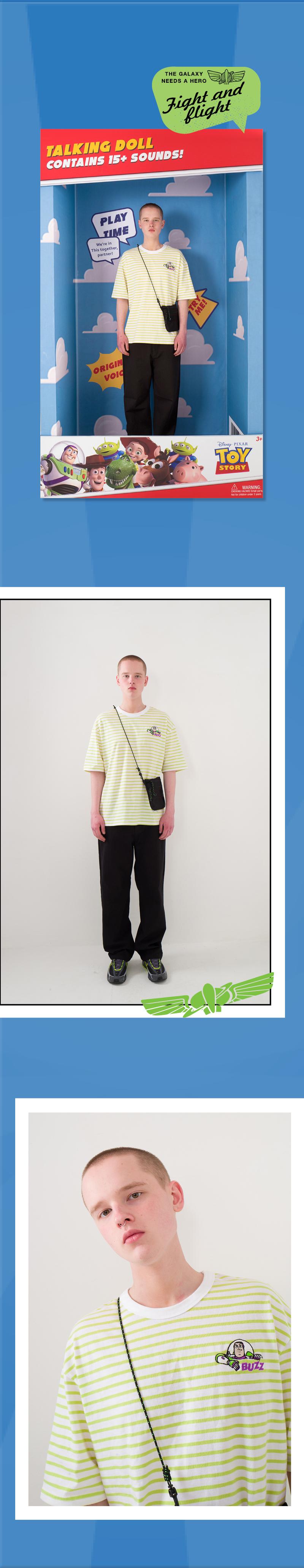 메인부스(MAINBOOTH) Buzz Stripe T-shirt(LIME STRIPE)